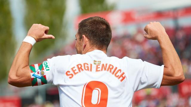 Enrich celebra el gol en Girona (Fotos: laliga.es)
