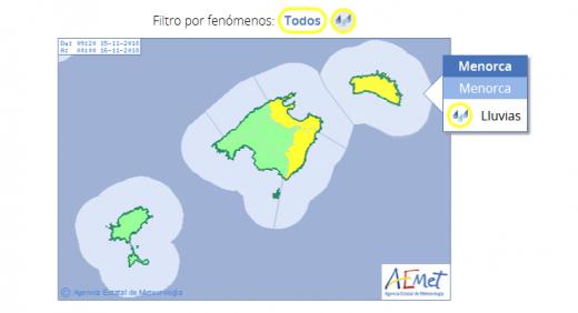 Mapa de alertas de la Aemet.