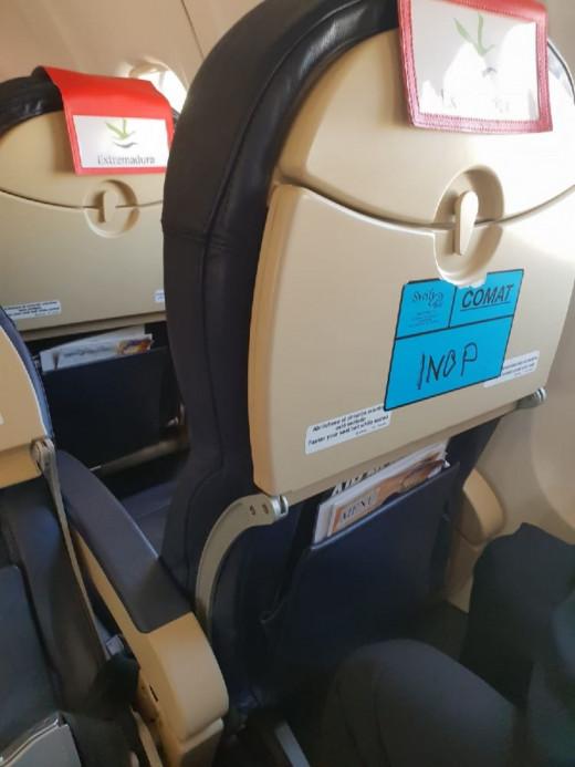 Imagen de los asientos del avión tomada por un usuario de Menorca