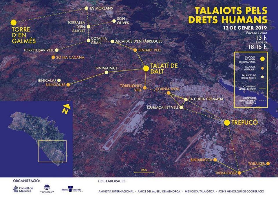 Red de talayots que pueden conectar visualmente en el levante de Menorca (Ilustración: Maria Eva Meliá)