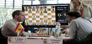 Vallejo, en la partida ante Anand (Foto: Bilbao Chess 2014)