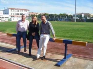 Pons Olives, Reynés y Escudero en las instalaciones del polideportivo.