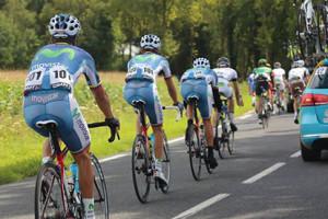 Parte del equipo Movistar Team Ecuador, durante la Vuelta.