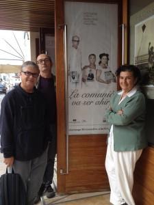Jordi Odrí, Miquel Plana y Matilde Muñiz en el Teatre Principal de Maó.