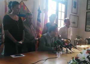 José María de Sintas el día de su dimisión con el resto del Grupo Popular.