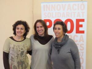 Borrás acompañada por Noemí Gomila y Susana Mora en el acto de presentación. FOTO.- PSOE