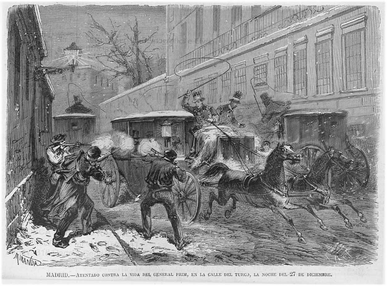 Dibujo recreando el atentado a Prim en 1870