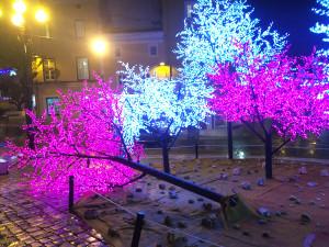 En Maó, el viento ha derribado un árbol de la decoración navideña y otro en la calle Vasallo. FOTO.- Tolo Mercadal