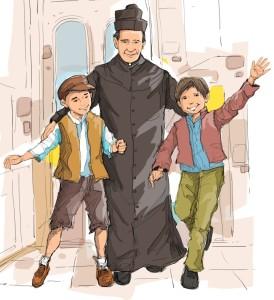 Don Bosco con los jóvenes.
