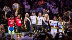 La pareja balear, a la derecha en el podio.