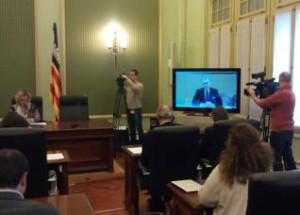 Bárcenas ha participado por videoconferencia desde la prisión de Soto del Real. FOTO.- PSIB