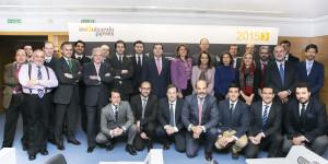 Representantes de empresas que participan en el proyecto, en el acto de presentación en Madrid.