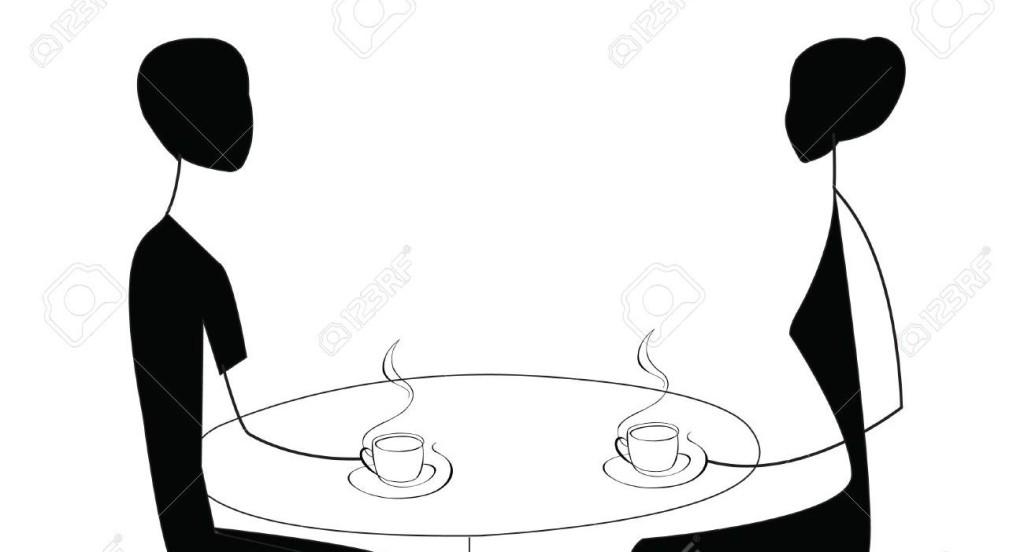 Pareja hablando y tomando un café