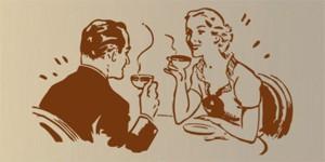 Vinilo decorativo pareja tomando cafe