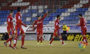 Enrich levanta el puño tras el gol (Foto: lfp.es)
