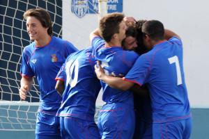 Celebración de un gol de la selección sub 16 (Foto: futbolbalear.es)