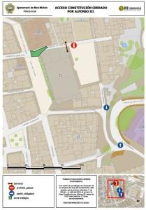 El acceso a la plaza Constitución por Alfonso III permanecerá cerrado.