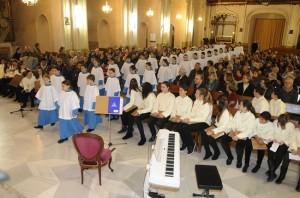 Los 'Blauets' de Lluc han actuado este viernes en la iglesia de Santa Maria de Maó. Foto: Tolo Mercadal.