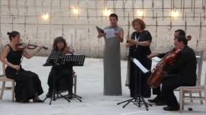 Maria Camps, Eulàlia Salbanyà y el Quartet Aguinaga durante su actuación de agosto en Líthica.