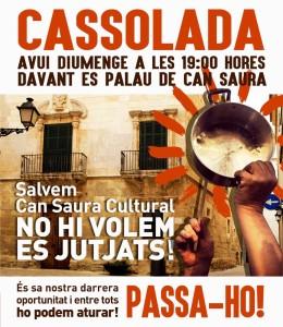 Cartel de la cacerolada por un Can Saura Cultural.