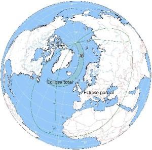 En este mapa puede apreciarse la zona donde el eclipse solar se verá en un 100% (islas Feroe y Svalbard) y la zona de parcialidad, en la que se encuentra Menorca.
