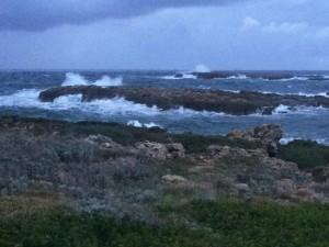 Mal tiempo en la costa de Sant Lluís.