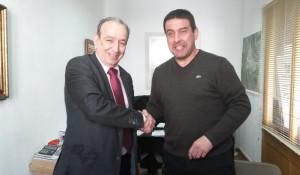 Ernesto Bonnín y Pere Moll, cerrando el acuerdo.