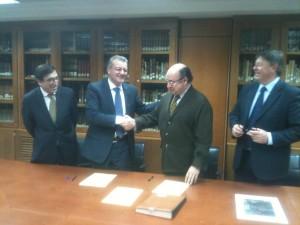 Momento de la firma del convenio en Madrid.
