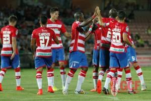 Celebración de un gol del Granada.