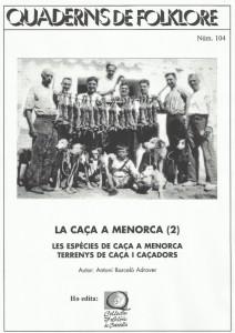 Portada segunda parte 'La caça de Menorca'. Quadern de Folklore 104.