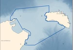 Área que comprendería el LIC propuesto para el Canal de Menorca.