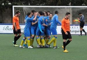 Celebración del gol de Chupi (Fotos: Tolo Mercadal)