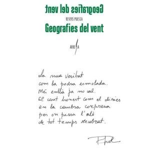 Poema manuscrito de Pere Gomila que se integra en la contraportada de su nuevo libro.