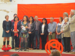 Gomila acompañada de los miembros de su candidatura. FOTO.- PSOE