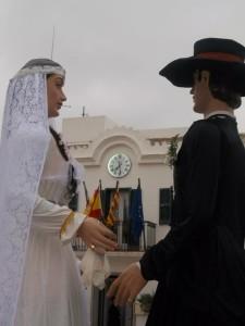 Los recién casados Lluís y Maria. Foto: Colla de Geganters de Sant Lluís.