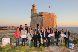 Los integrantes de la lista en el Castell de Sant Nicolau. FOTO.- PP Ciutadella