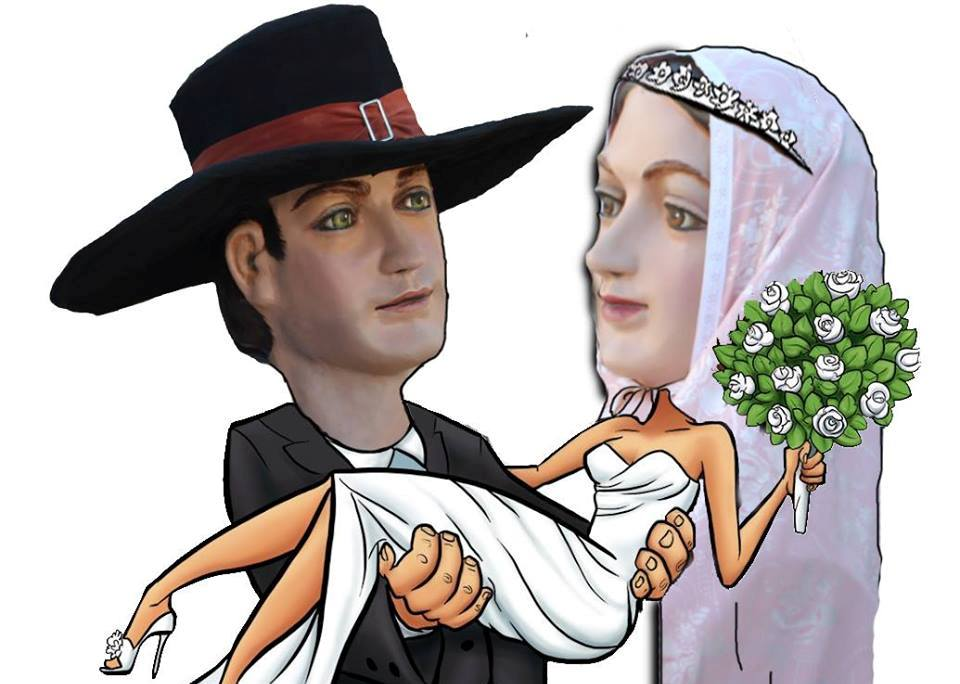 Los gigantes Lluís y Maria de Sant Lluís se casan
