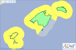 Mapa de alertas para el viernes por fenómenos costeros.