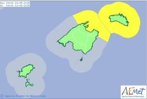 Mapa de avisos para este miércoles en Balears. FOTO.- Aemet