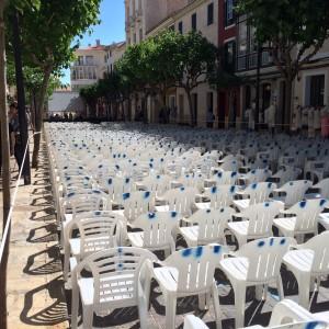 La calle Ses Moreres, preparada para el disfrute de la producción al aire libre. FOTO.- Tolo Mercadal