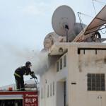 incendio nave  de fibralink en el poligono de mao