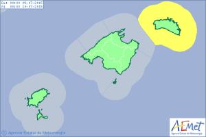 Mapa de alerta amarilla por fenómenos costeros para el jueves.