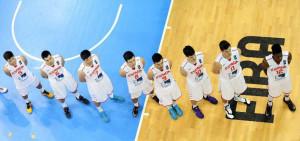 Sans, con el número 7, antes del partido (Foto: FIBA Europe)