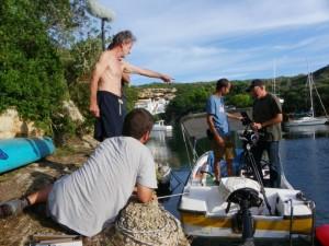 Momento del rodaje de 'Isla bonita' en Menorca.