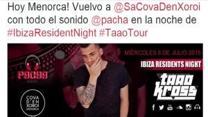 El DJ ha anunciado su actuación en la red social Twitter