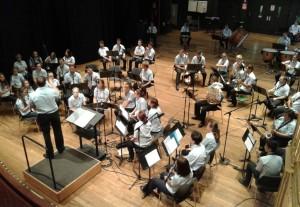 La Banda de Música de Maó en un ensayo reciente. Foto: Banda de Maó.