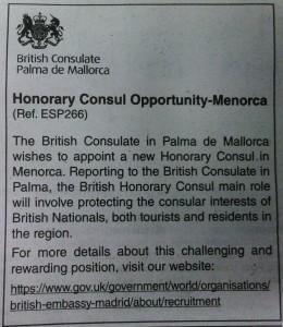 Anuncio del consulado de Palma