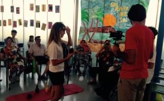 Momento durante la grabación del 'lib-dub'. Foto: Centre Sociosanitari Santa Rita.