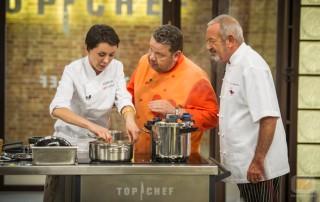 Elisabeth Julienne junto a Alberto Chicote y Karlos Arguiñano en su paso por Top Chef de Antena 3.