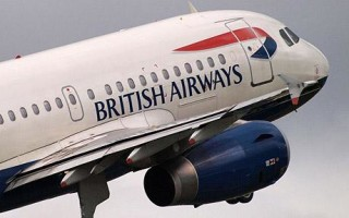 Avión de British Airways en pleno vuelo.